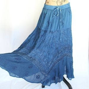 Vintage Blue Gypsy Swing Skirt